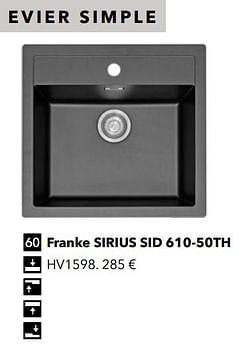 Évier simple franke sirius sid 610-50th