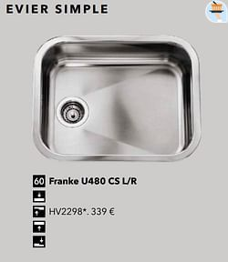 Évier simple franke u480 cs l-r