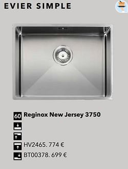 Évier simple reginox new jersey 3750