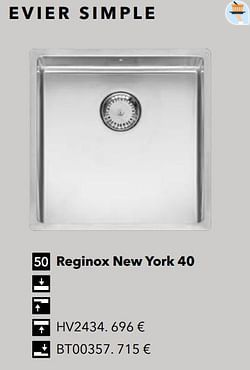 Évier simple reginox new york 40