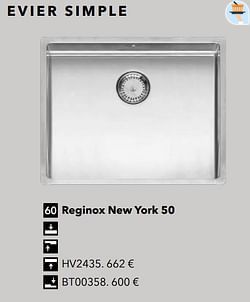 Évier simple reginox new york 50