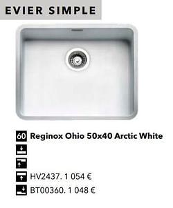Évier simple reginox ohio 50x40 arctic white