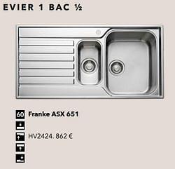 Evier 1 bac ½ franke asx 651