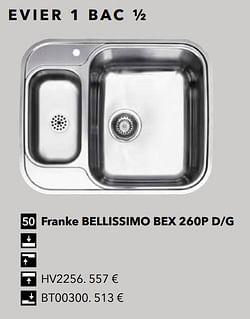 Evier 1 bac ½ franke bellissimo bex 260p d-g