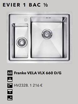 Evier 1 bac ½ franke vela vlx 660 d-g