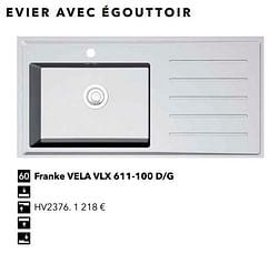 Evier avec égouttoir franke vela vlx 611-100 d-g