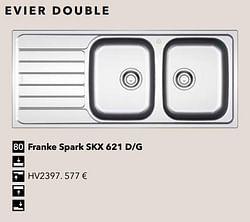 Evier double franke spark skx 621 d-g
