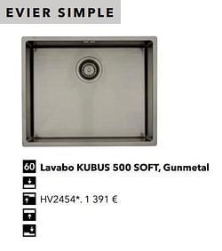Évier simple lavabo kubus 500 soft, gunmetal
