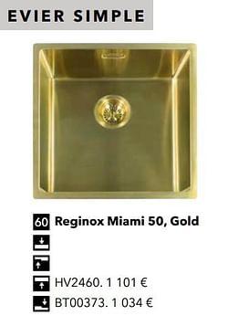 Évier simple reginox miami 50, gold