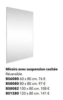 Miroirs avec suspension cachée