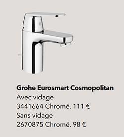 Robinetteries de salle de bains grohe eurosmart cosmopolitan
