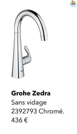 Robinetteries eau froide grohe zedra