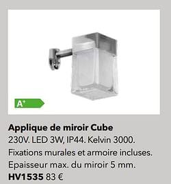 Éclairages applique de miroir cube