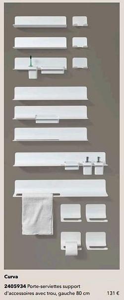 Curva porte-serviettes support d`accessoires avec trou, gauche 80 cm