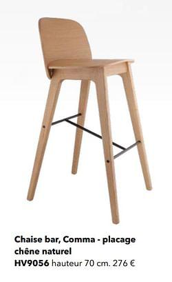Chaise bar, comma - placage chêne naturel