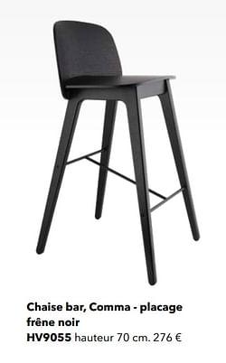 Chaise bar, comma - placage frêne noir