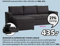Mariager slaapbank met chaise longue-Huismerk - Jysk