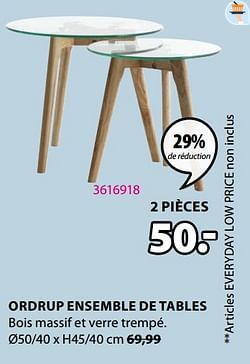Ordrup ensemble de tables