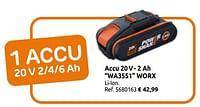 Accu 20v- 2 ah wa3551 worx-Worx