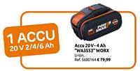 Accu 20v- 4 ah wa3553 worx-Worx