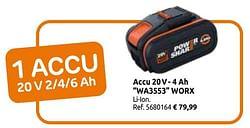Accu 20v- 4 ah wa3553 worx