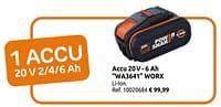 Accu 20v- 6 ah wa3641 worx-Worx