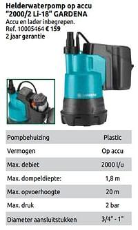 Helderwaterpomp op accu 2000-2 li-18 gardena-Gardena