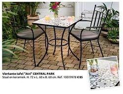 Vierkante tafel atri central park
