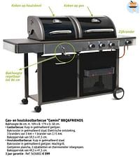 Gas- en houtskoolbarbecue gemini bbq+friends-BBQ & Friends