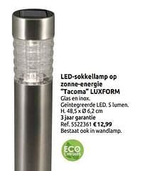 Led-sokkellamp op zonne-energie tacoma luxform-LuxForm