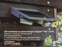 Led-wandlamp op zonne-energie 2 koppen tilly lutec-Lutec