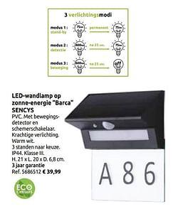 Led-wandlamp op zonne-energie barca sencys