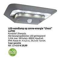 Led-wandlamp op zonne-energie ghost lutec-Lutec