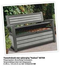 Tweezitsbank met opberging hudson keter-Keter