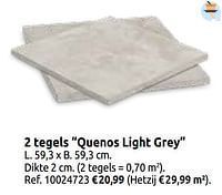 2 tegels quenos light grey-Huismerk - Brico