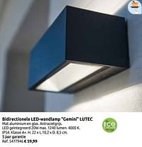 Bidirectionele led-wandlamp gemini lutec-Lutec