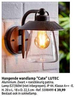 Hangende wandlamp cate lutec