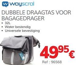 Dubbele draagtas voor bagagedrager