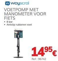 Voetpomp met manometer voor fiets-Wayscrall
