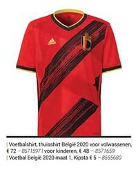 Voetbalshirt, thuisshirt belgië 2020 voor volwassenen-Adidas