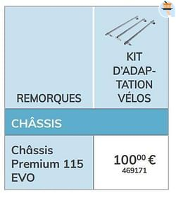 Kit d`adaptation vélos châssis premium 115 evo