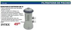 Intex filtrations de piscine epurateur à cartouche 2m³-h