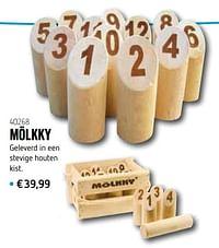 Mölkky geleverd in een stevige houten kist-Huismerk - De Speelvogel
