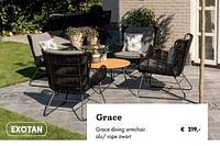 Grace dining armchair alu- rope zwart-Exotan