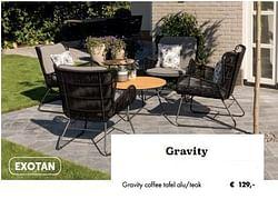 Gravity coffee tafel alu-teak