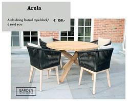 Arola dining fauteuil rope black- d.sand ecru