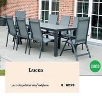 Lucca stapelstoel alu-textylene-Suns