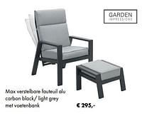 Max verstelbare fauteuil alu carbon black- light grey met voetenbank-Garden Impressions