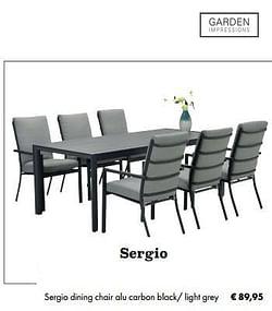 Sergio dining chair alu carbon black- light grey