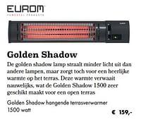 Golden shadow hangende terrasverwarmer-Eurom